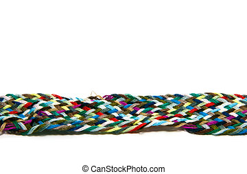 colorful textiles - different fibres isolated on white...
