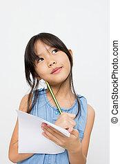 CÙte, pequeno, Asiático, menina, pensando