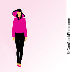 Woman wearing a big hat and fancy clothes - Vector...