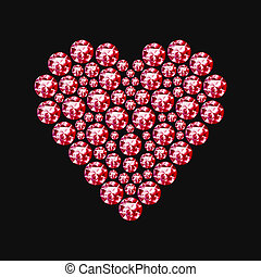 Diamond heart symbol - Red heart on a black background. The...