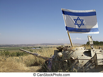 Israel - Old tank used during the 1967 war with the flag of...