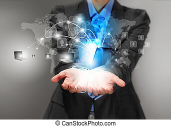 Technology concept - Image of business person holding...
