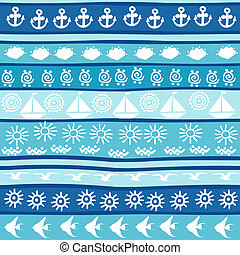 Background with marine motifs, wrapping paper