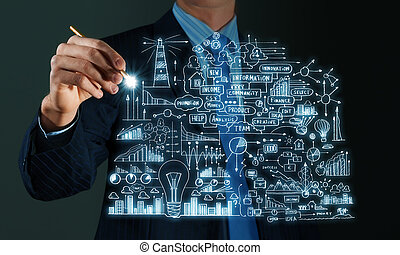 Business plan - Close up of businessman sketching business...