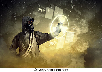 Stalker touching sign - Image of man in gas mask and...
