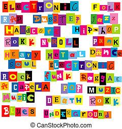 Música, genres, hecho, colorido, Cartas