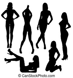 Set of sexy naked women silhouettes
