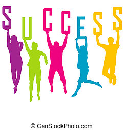 Success representation with colored people silhouettes