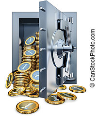 cash - high resolution rendering of bank vault