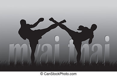 Thai boxing - Illustration with the image of Thai boxers on...