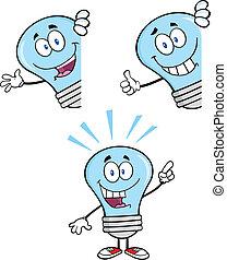bleu, ensemble, lumière,  collection,  4, ampoule