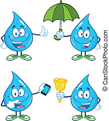 Water Drop Set Collection 1 - Water Drop Cartoon Mascot...