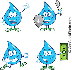Water Drop Set Collection 2 - Water Drop Cartoon Mascot...