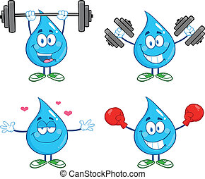 Water Drop Set Collection 3 - Water Drop Cartoon Mascot...