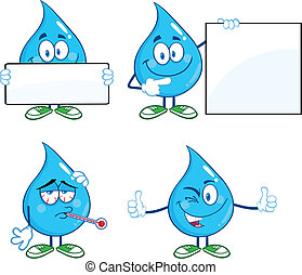Water Drop Set Collection 6 - Water Drop Cartoon Mascot...