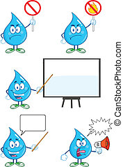 Water Drop Set Collection 7 - Water Drop Cartoon Mascot...