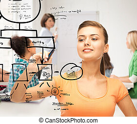 student drawing notes on the virtual screen - education,...