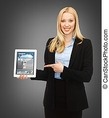 woman showing tablet pc with news