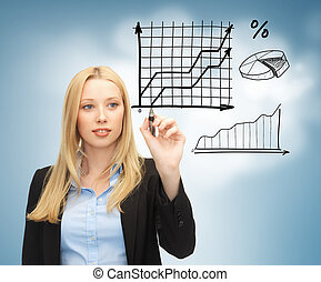 businesswoman drawing graphs in the air - business, finances...