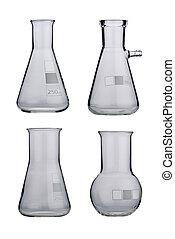 Lab Laboratory glassware set on a background - Lab...