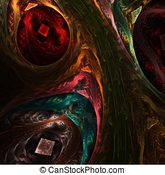 Multicolor Collage Abstract - Multicolor texture blends and...