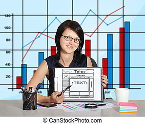 web page on clipboard - woman sitting in office and web page...