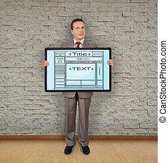 template web page - businessman in room holding plasma with...