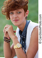 Smiling hipster girl with lip ring - Fashionable teenage...