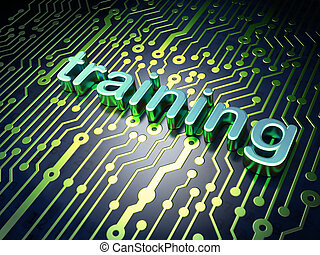 Education concept: Training on circuit board background