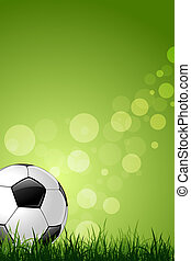 Soccer Ball on Green Grass Background - Soccer Ball on Green...