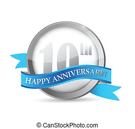 10th anniversary seal and ribbon illustration design over...