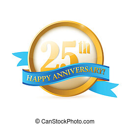 25th anniversary seal and ribbon illustration design over...
