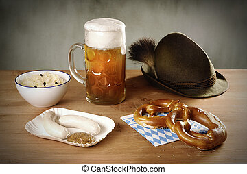 German stillife; Sauerkraut, Weiwurst, Pretzeln, Beer and...