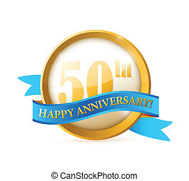 50th anniversary seal and ribbon illustration design over...