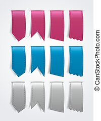 ribbon - Different shaped ribbons in three colors