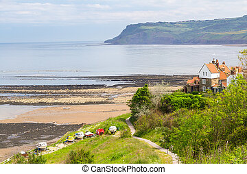 Robin Hoods Bay Yorkshire England - Beach and sea front at...