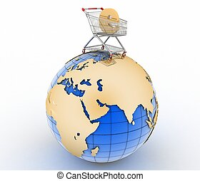 Sign of e-commerce in a trolley on globe Conception of trade...