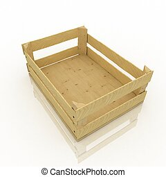 Empty wooden box Container for fruits and vegetables
