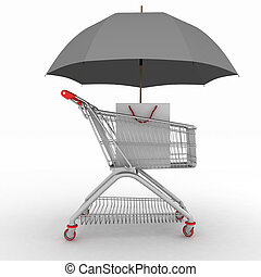 Shopping cart being protected by an umbrella as a business...