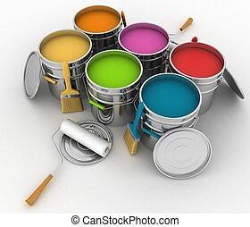 open buckets with a paint, brush and rollers 3d illustration...