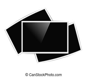 retro horizontal photo frames on white