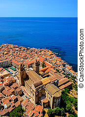 Aerial vertical view of village and cathedral in Cefalu,...