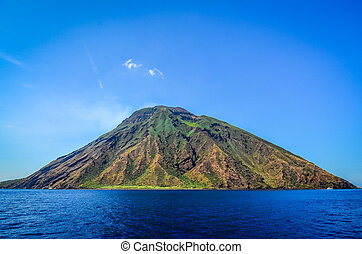 Stromboli volcanic island in Lipari, viewed from the ocean,...