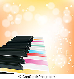 piano background with notes on orange background