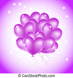 colorful heart balloons with stars