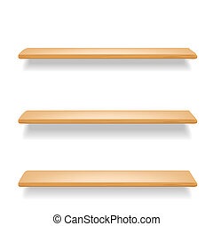 wooden shelves on white background