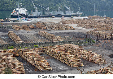 shipping timber - shipping yard ready to load timber onto...