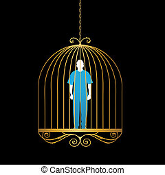 Man in gold bird cage