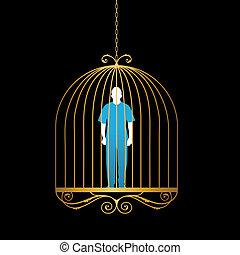 Man in gold bird cage