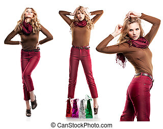 Studio shot of beautiful girl is in fashion style with...